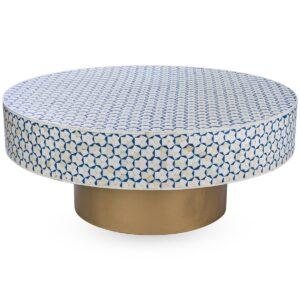 Стол голубой отделка кость BONE INLAY COFFEE TABLE