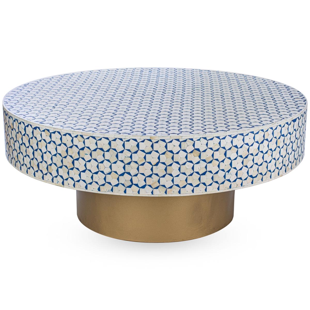 Стол голубой отделка кость BONE INLAY COFFEE TABLE  - фото 1