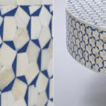 Стол голубой отделка кость BONE INLAY COFFEE TABLE  - фото 2