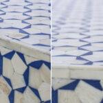 Стол голубой отделка кость BONE INLAY COFFEE TABLE  - фото 3