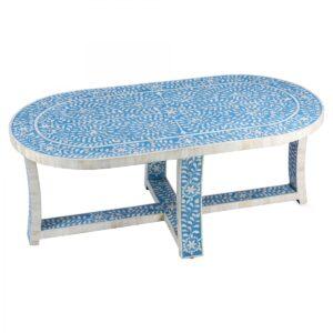 Стол голубой отделка кость Butler Sabina Blue Bone Inlay Oval Coffee Table