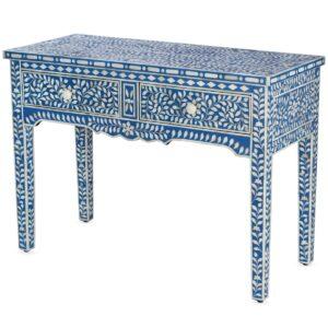 Стол рабочий синий орнамент кость BONE INLAY CONSOL TABLE 2 DRAWER