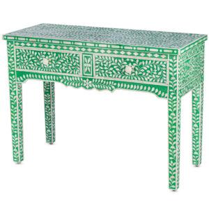 Стол рабочий зеленый орнамент кость BONE INLAY CONSOL TABLE 2 DRAWER