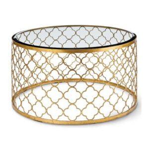 Стол стеклянный Gable Hollywood Regency Glass Gold Leaf Round Coffee Table