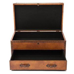 Стол-сундук Vintage buffalo leather chest-table