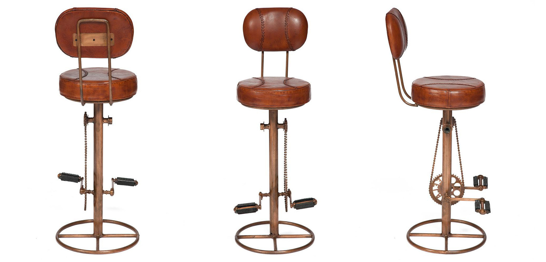 Стул с педалями от велосипеда со спинкой Buffalo Leather Industrial Chair   - фото 2