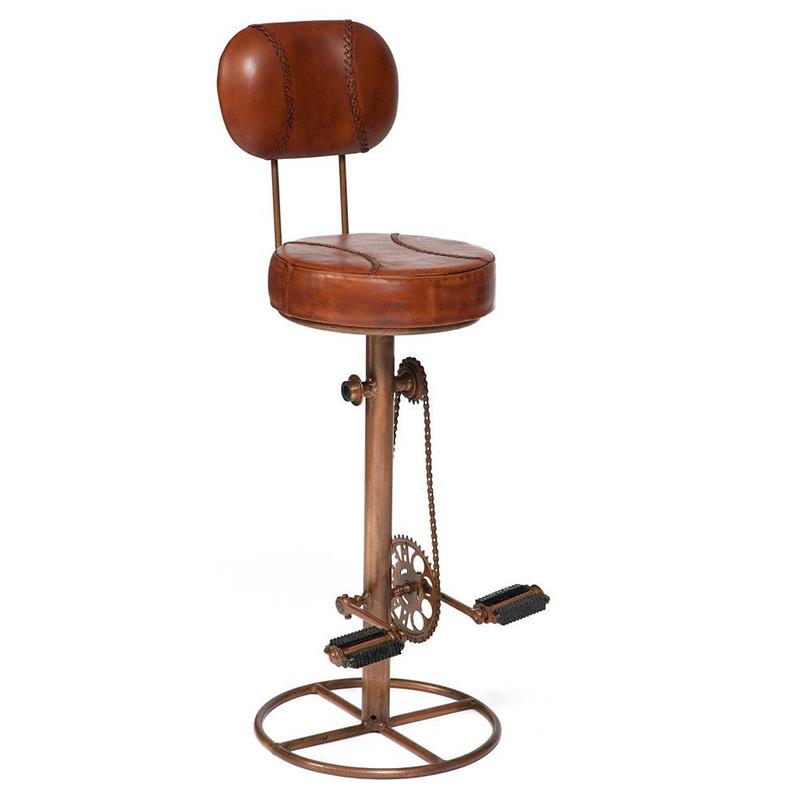 Стул с педалями от велосипеда со спинкой Buffalo Leather Industrial Chair   - фото 1