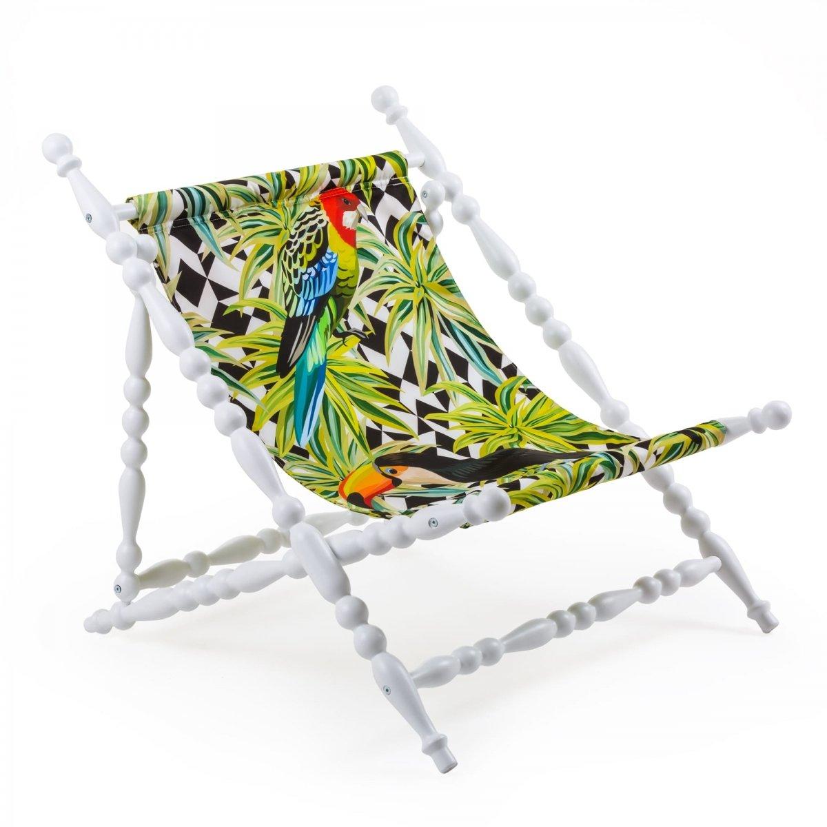 Стул Seletti Heritage Foldable Deckchair Parrots white  - фото 1