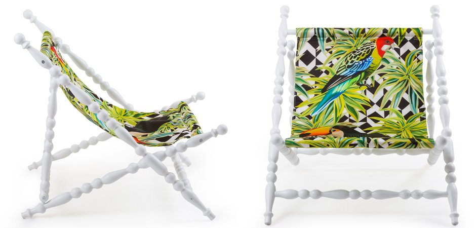 Стул Seletti Heritage Foldable Deckchair Parrots white  - фото 2