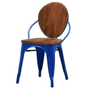 Стул Tolix chair Wooden Blue  designed by Xavier Pauchard