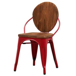 Стул Tolix chair Wooden Red  designed by Xavier Pauchard