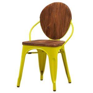 Стул Tolix chair Wooden Yellow  designed by Xavier Pauchard