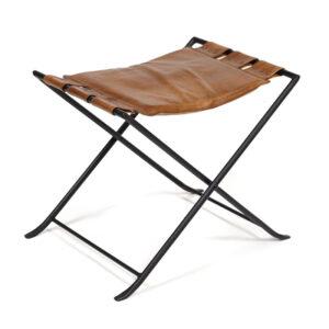 Табурет из кожи буйвола Industrial leather folding stool