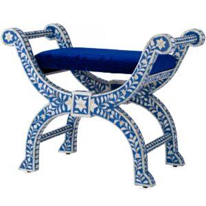 Табурет отделка кость голубой BONE INLAY Jenny Stool
