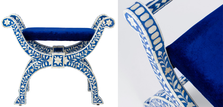 Табурет отделка кость голубой BONE INLAY Jenny Stool  - фото 2