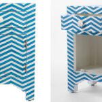 Тумба Chevron Bone Inlay Bedside Cabinet in Chevron Pattern 1 DRAWER  - фото 2