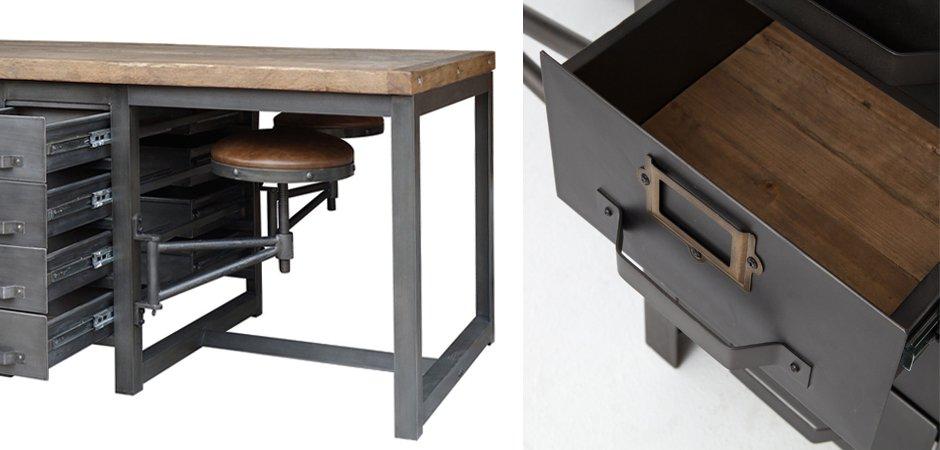 Большой рабочий стол Rupert Work Table Rustic   - фото 2