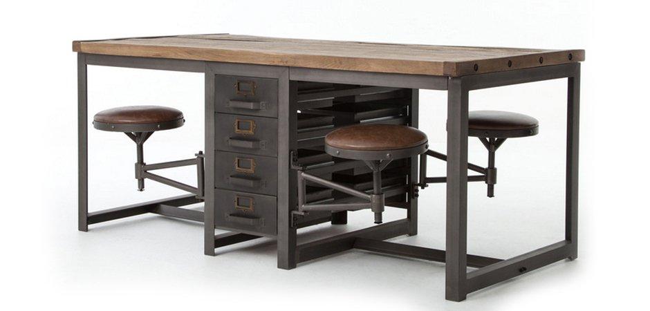 Большой рабочий стол Rupert Work Table Rustic   - фото 5