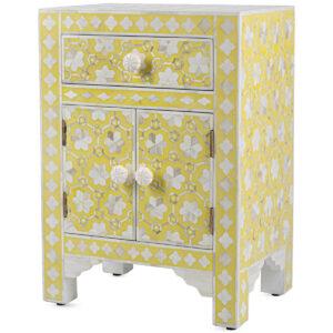 Желтая тумба кость BONE Inlay Bedside Cabinet 1 DRAWER
