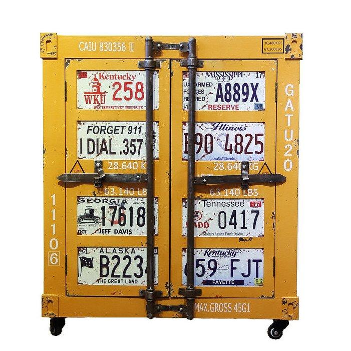 Желтая тумбочка контейнер Yellow nightstand vintage  - фото 1