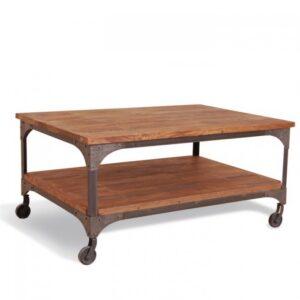 Журнальный стол Industrial Metal Rust Coffee Table on Wheels