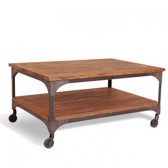 Журнальный стол Industrial Metal Rust Coffee Table on Wheels   - фото 1