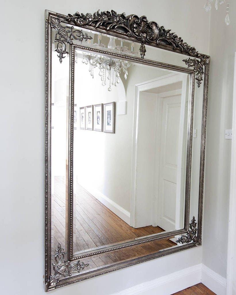 Серебряное напольное зеркало