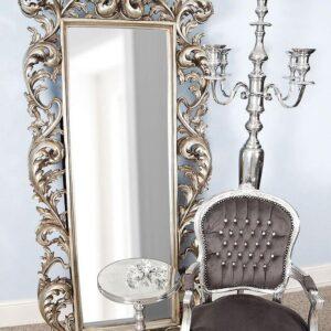 Серебряное напольное зеркало «Меривейл»