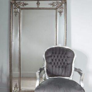 Серебряное напольное зеркало «Пабло»