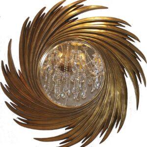 Круглое зеркало в золотой раме «Свирл»