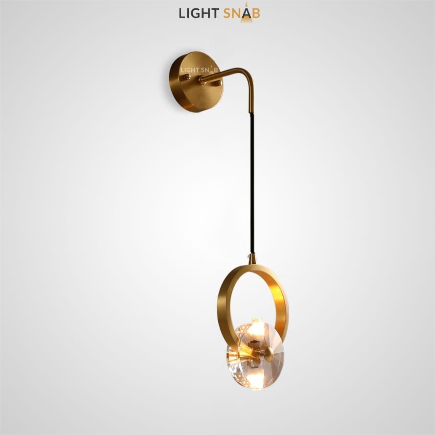 Настенный светильник Adonica Wall с круглым плафоном в виде кристалла на золотом кольце