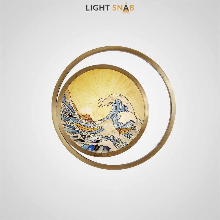 Светодиодный настенный светильник Akira Wave Wall в виде стеклянного диска с ручной росписью японскими мотивами