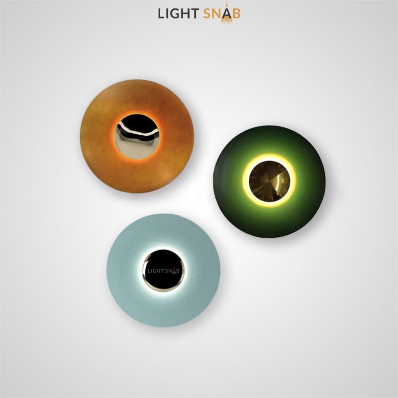Настенный светодиодный светильник Alesta в виде матового диска с глянцевым центром из металла