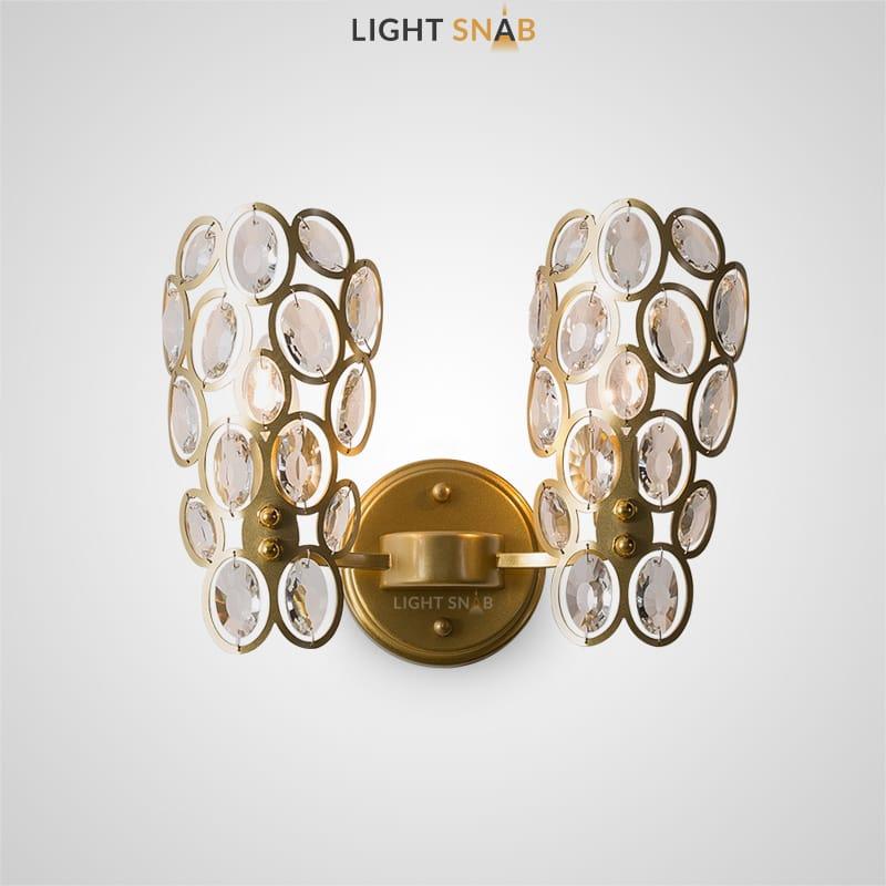 Бра Algol с двумя плафонами в виде композиций из колец с кристальными вставками