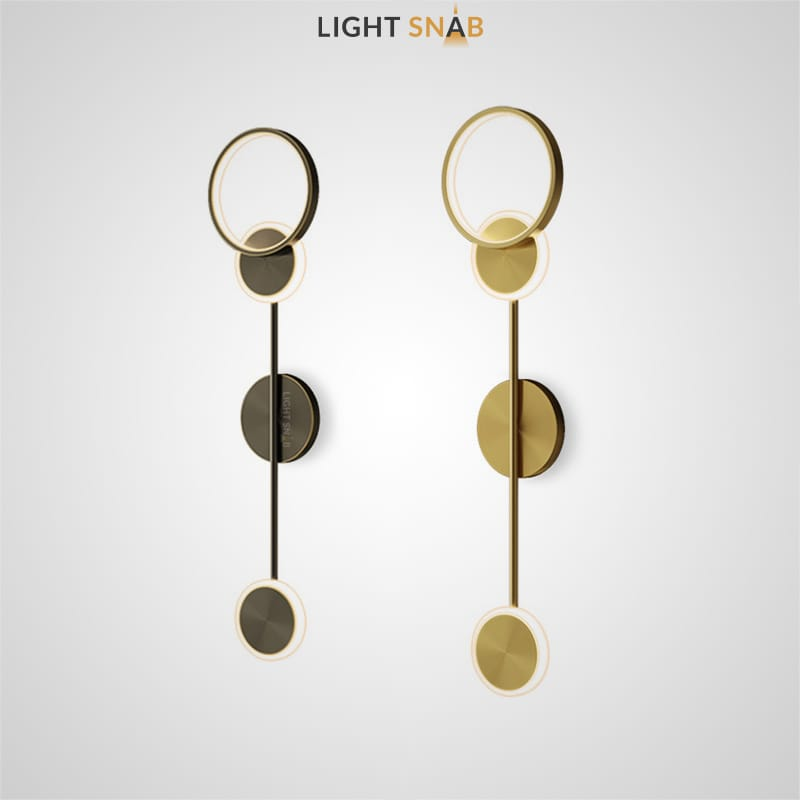 Настенный светильник Amber в виде композиции из двух дисков и кольца с внешним и внутренним led-свечением