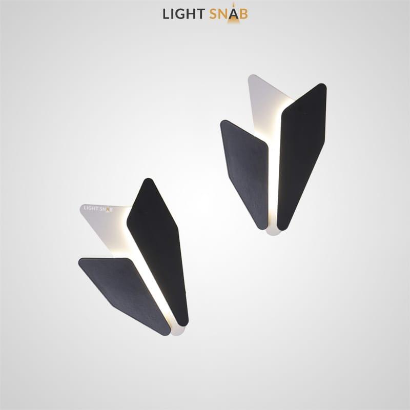 Дизайнерский настенный светильник Antlers неправильной формы из черных и белых металлических элементов