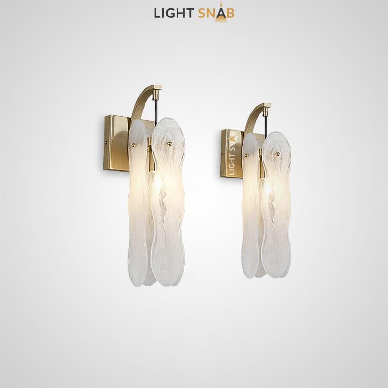 Настенный светильник Belinda Wall с абажуром из фигурных стеклянных пластин с эффектом белого дыма