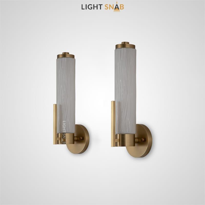 Настенный светильник Beta с цилиндрическими плафонами из рельефного стекла