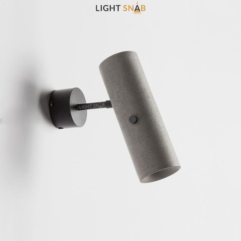 Настенный светодиодный светильник Brut Wall с цилиндрическим плафоном из цемента и механизмом регулировки угла наклона