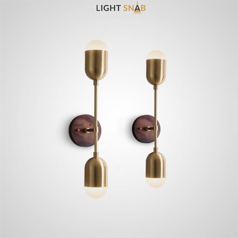 Настенный светодиодный светильник Chris с двумя цилиндрическими плафонами и круглым деревянным креплением