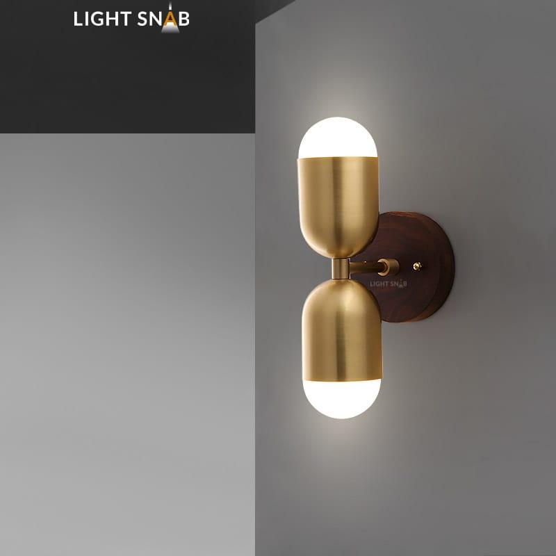 Настенный светодиодный светильник Chris модель A цвет латунь свет трехцветный