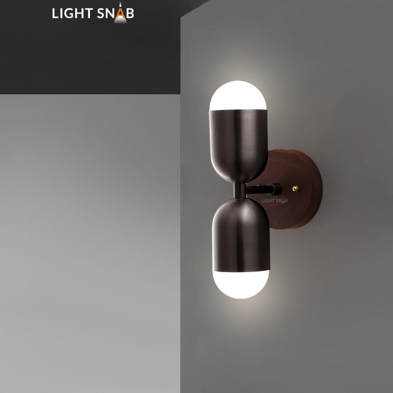 Настенный светодиодный светильник Chris модель A цвет черный свет трехцветный
