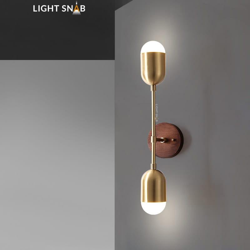 Настенный светодиодный светильник Chris модель B цвет латунь свет трехцветный