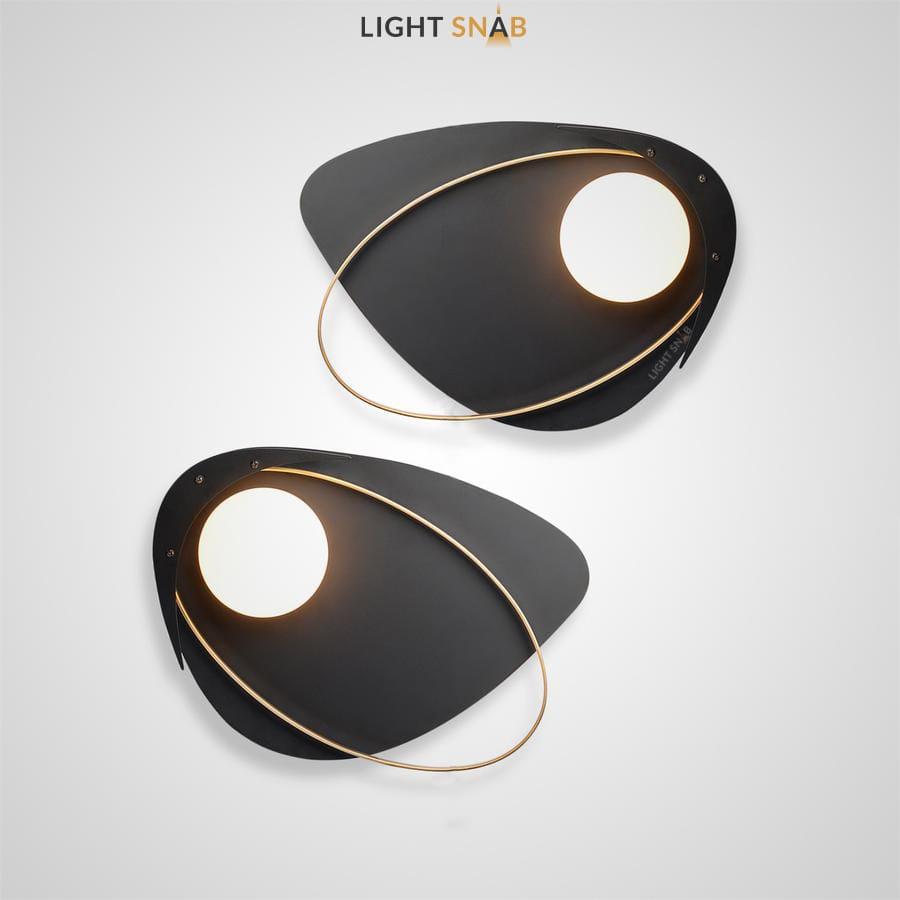Настенный светильник Clam Flat каплевидной формы с шарообразным стеклянным плафоном внутри металлического эллипса