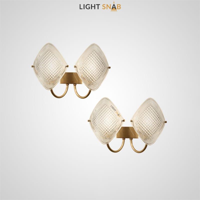 Настенный светильник Darina с рельефными рассеивателями из стекла в форме ромбов