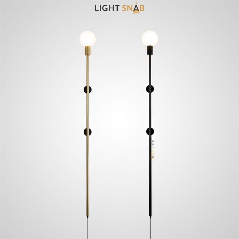 Настенный светильник Denny со стеклянными шарообразными плафонами на длинном стержневом каркасе