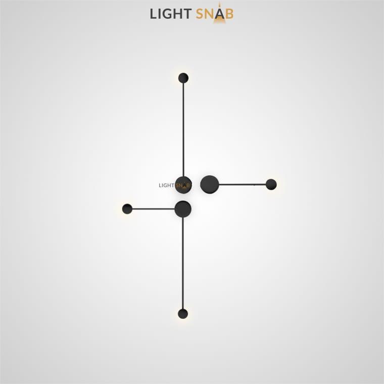 Светодиодное бра Dots Slim комбинация S+M+L цвет черный