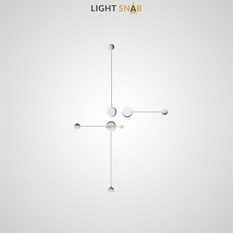 Светодиодное бра Dots Slim комбинация S+M+L цвет белый