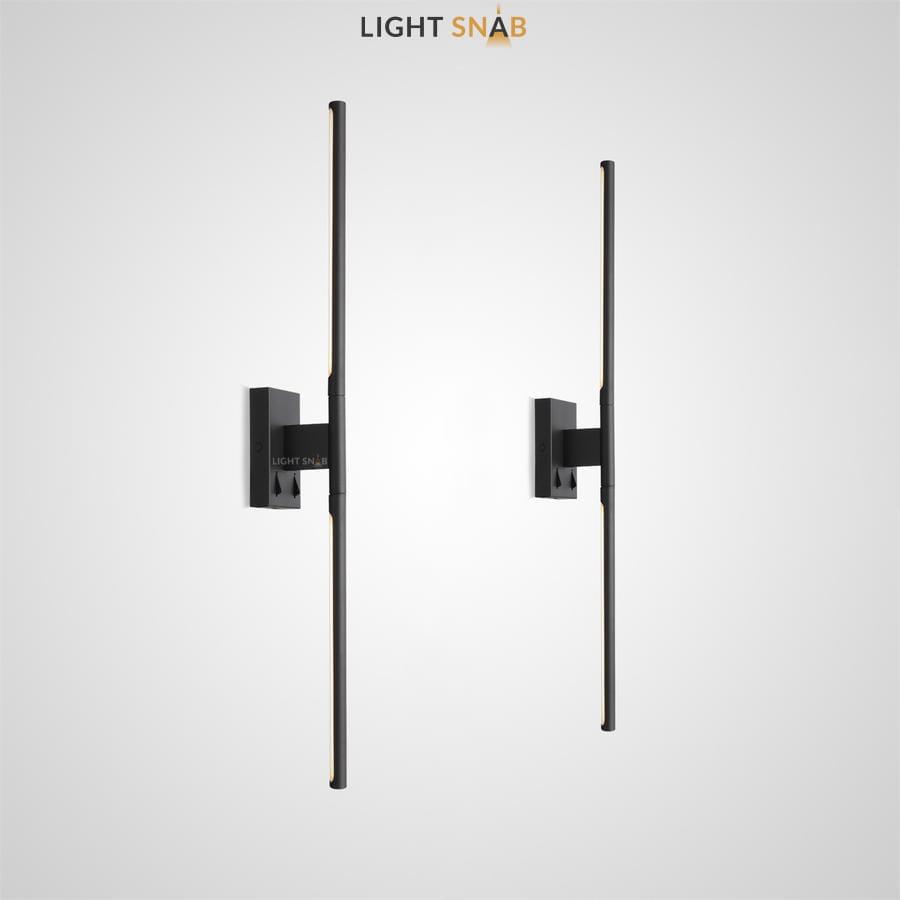 Настенный светильник Espos Wall в виде вертикальной черной стойки со светодиодными вставками