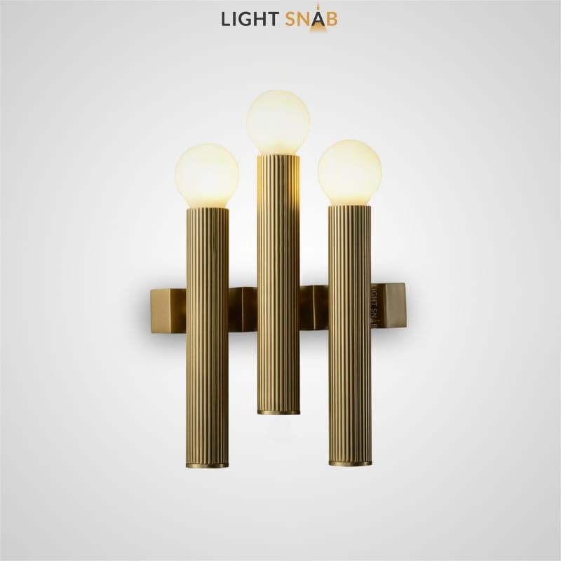 Настенный светильник Flash с тремя цилиндрическими плафонами с рифленой поверхностью